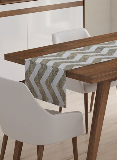 Lyn Home & Decor Runner Jüt Beyaz Zigzag Renkli